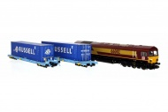 dapol-2d-007-011-class-66-66002-ews-db-brand-with-6-megafrets-and-6-x-45foot-russell-containers