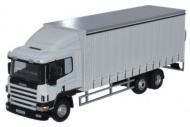 Oxford Diecast 76S9400 Scania 6 Wheel Curtainside Lorry White