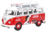 Oxford Diecast 76VWS008CC VW T1 Bus And Surfboards Coca Cola