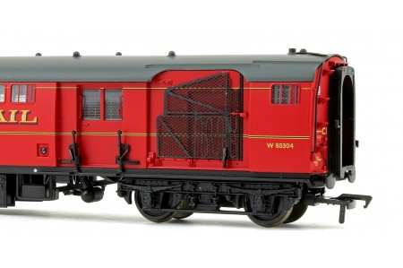Bachmann 39-421B BR Mk1 POS Post Office Sorting Van Post Office Red With Nets Right Side Closeup